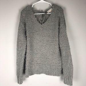 Knox Rose eyelash fuzzy sweater grey crew lace